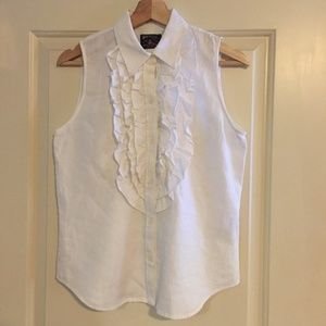American Living Linen Sleeveless Blouse White S